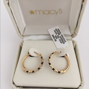 NWT 14k gold and sapphire hoop earrings